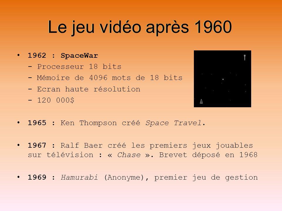 Le jeu vidéo après 1960 Le jeu vidéo après 1960 1962 : SpaceWar