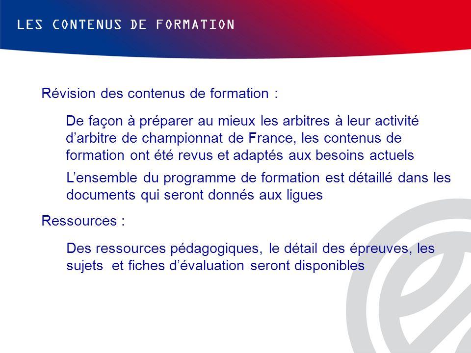 LES CONTENUS DE FORMATION