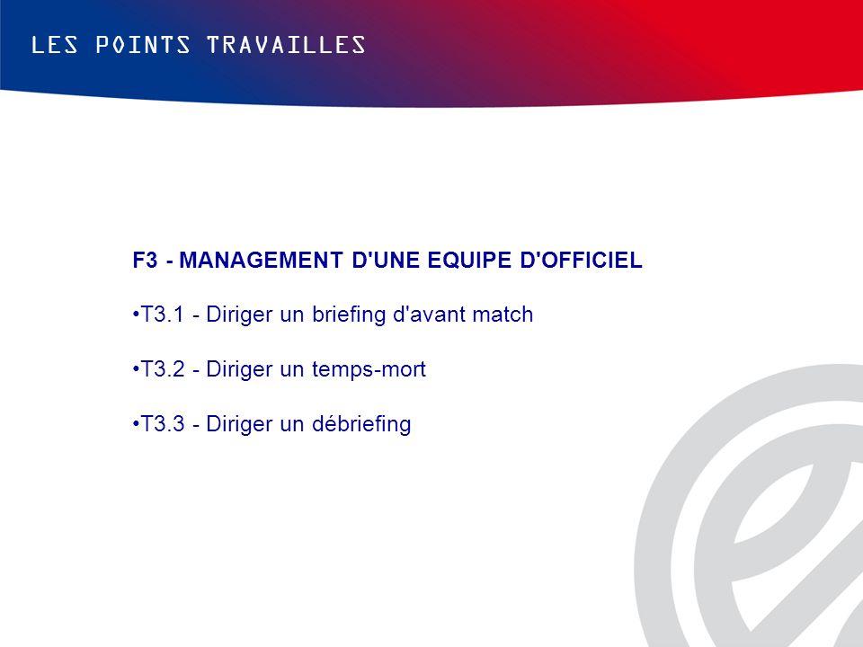 LES POINTS TRAVAILLES F3 - MANAGEMENT D UNE EQUIPE D OFFICIEL