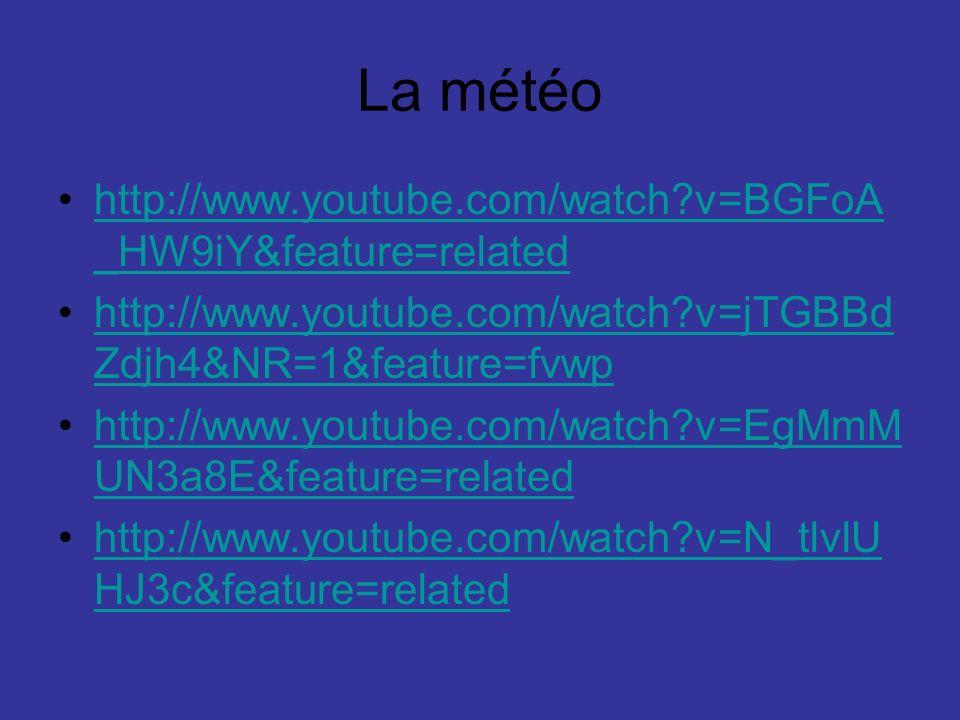La météo http://www.youtube.com/watch v=BGFoA_HW9iY&feature=related