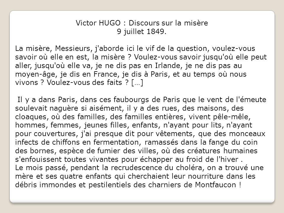 Victor HUGO : Discours sur la misère