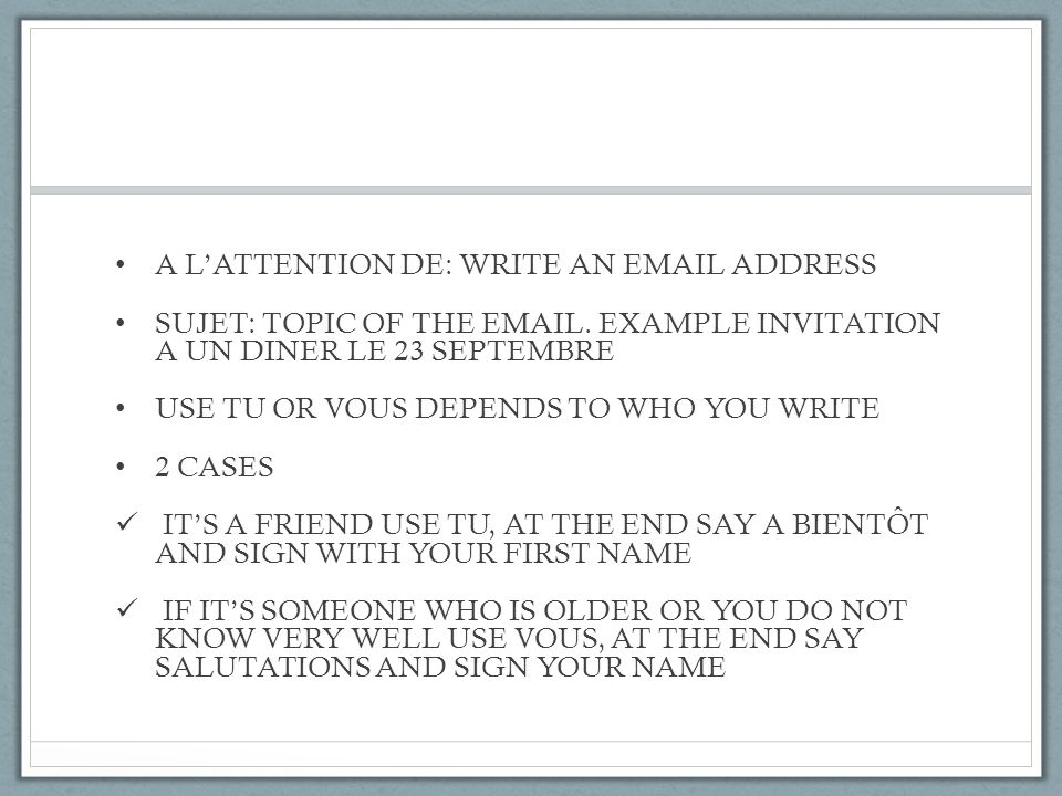 A L'ATTENTION DE: WRITE AN EMAIL ADDRESS