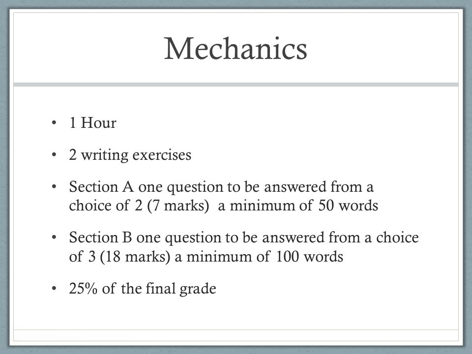 Mechanics 1 Hour 2 writing exercises