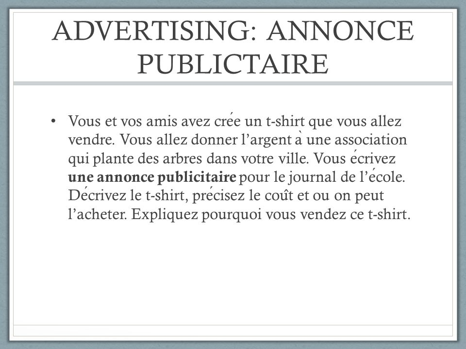 ADVERTISING: ANNONCE PUBLICTAIRE