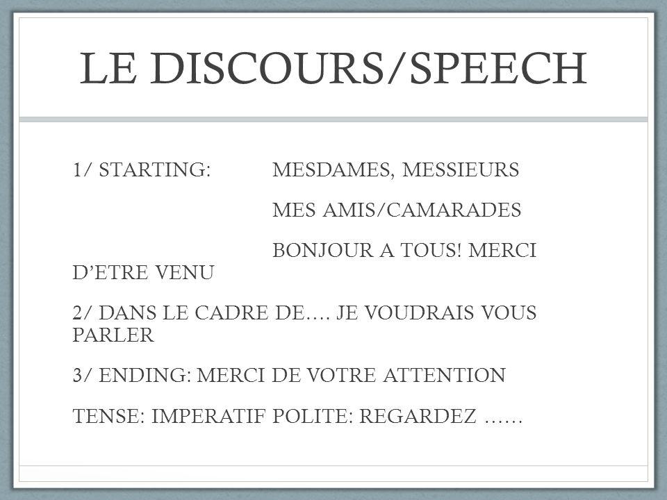 LE DISCOURS/SPEECH