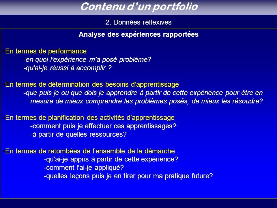 Contenu d'un portfolio Analyse des expériences rapportées