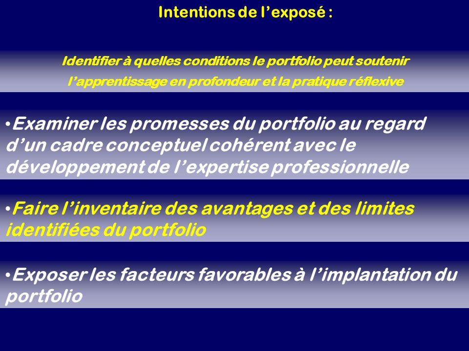 Exposer les facteurs favorables à l'implantation du portfolio