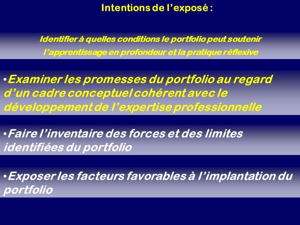 Faire l'inventaire des forces et des limites identifiées du portfolio