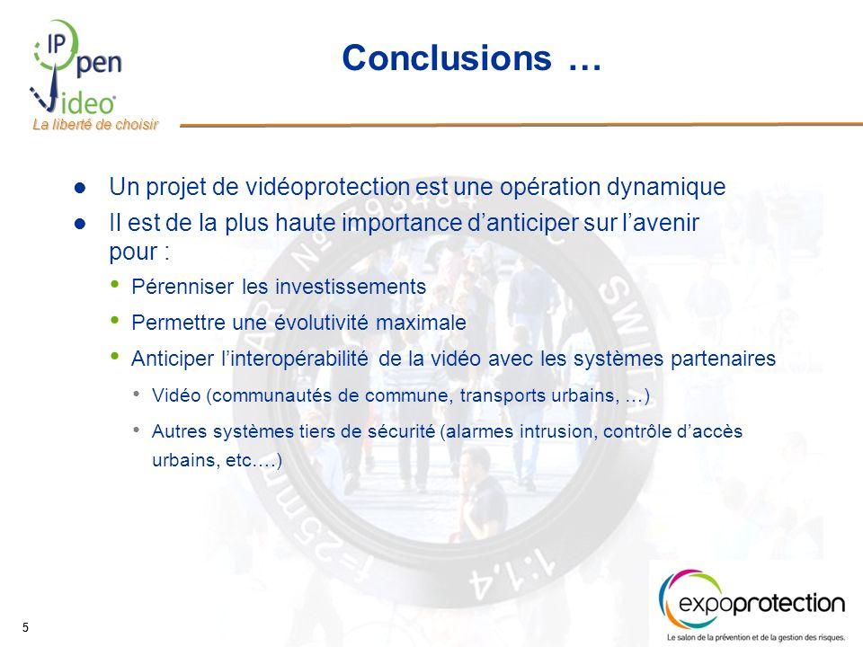 Conclusions … Un projet de vidéoprotection est une opération dynamique