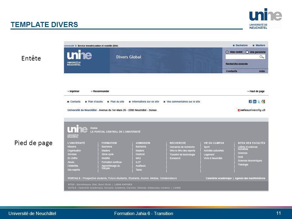 Template Divers Entête Pied de page Sans menu horizontal