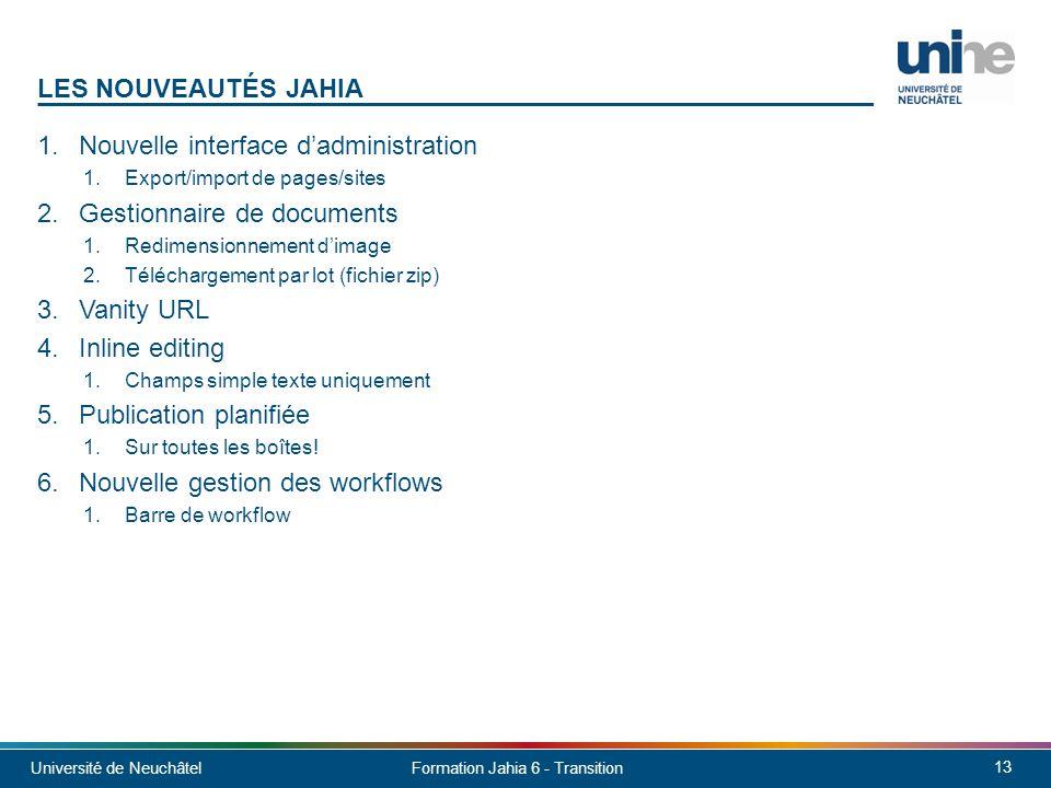 Nouvelle interface d'administration Gestionnaire de documents