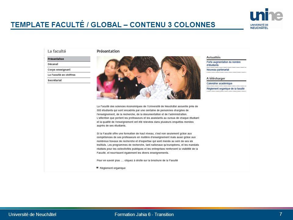 Template faculté / global – contenu 3 colonnes