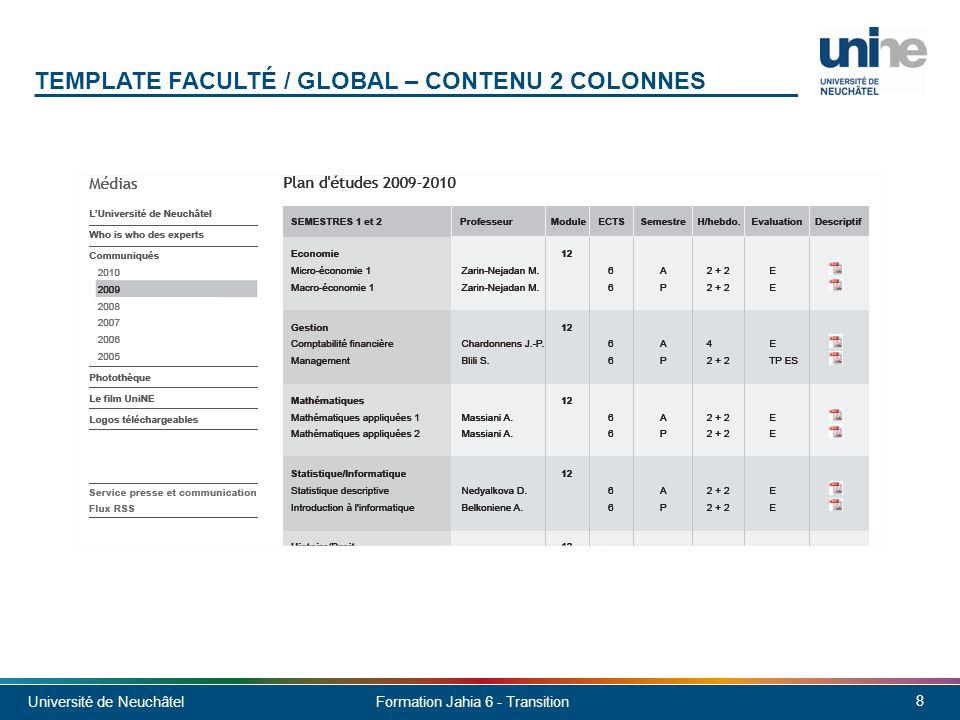 Template faculté / global – contenu 2 colonnes