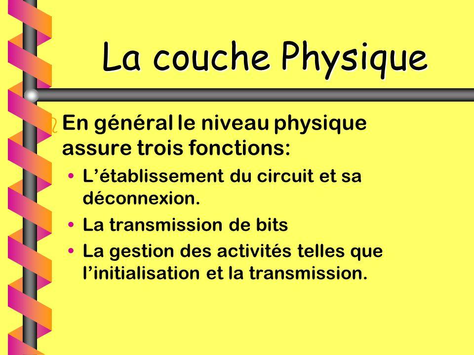 La couche Physique En général le niveau physique assure trois fonctions: L'établissement du circuit et sa déconnexion.