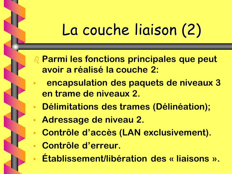 La couche liaison (2) Parmi les fonctions principales que peut avoir a réalisé la couche 2: