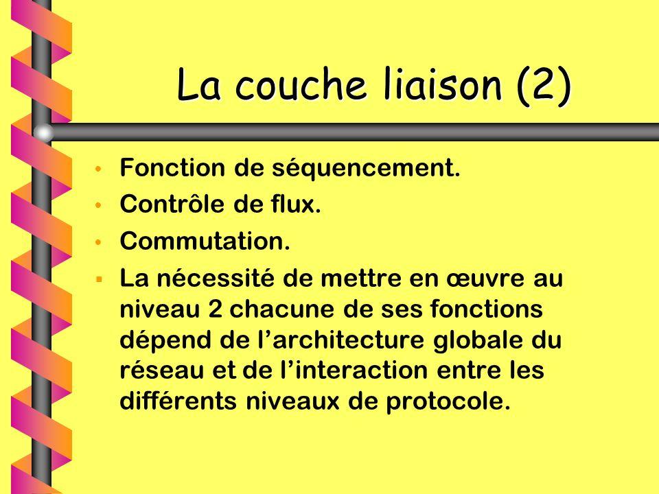 La couche liaison (2) Fonction de séquencement. Contrôle de flux.