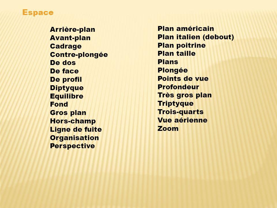 Espace Arrière-plan Plan américain Avant-plan Plan italien (debout)