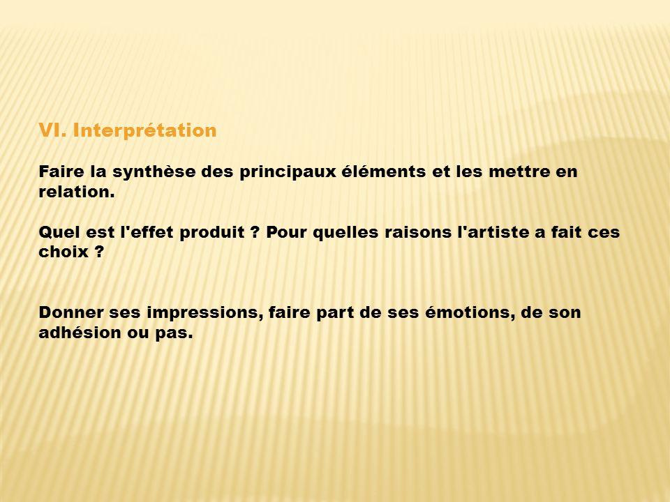 VI. Interprétation Faire la synthèse des principaux éléments et les mettre en relation.