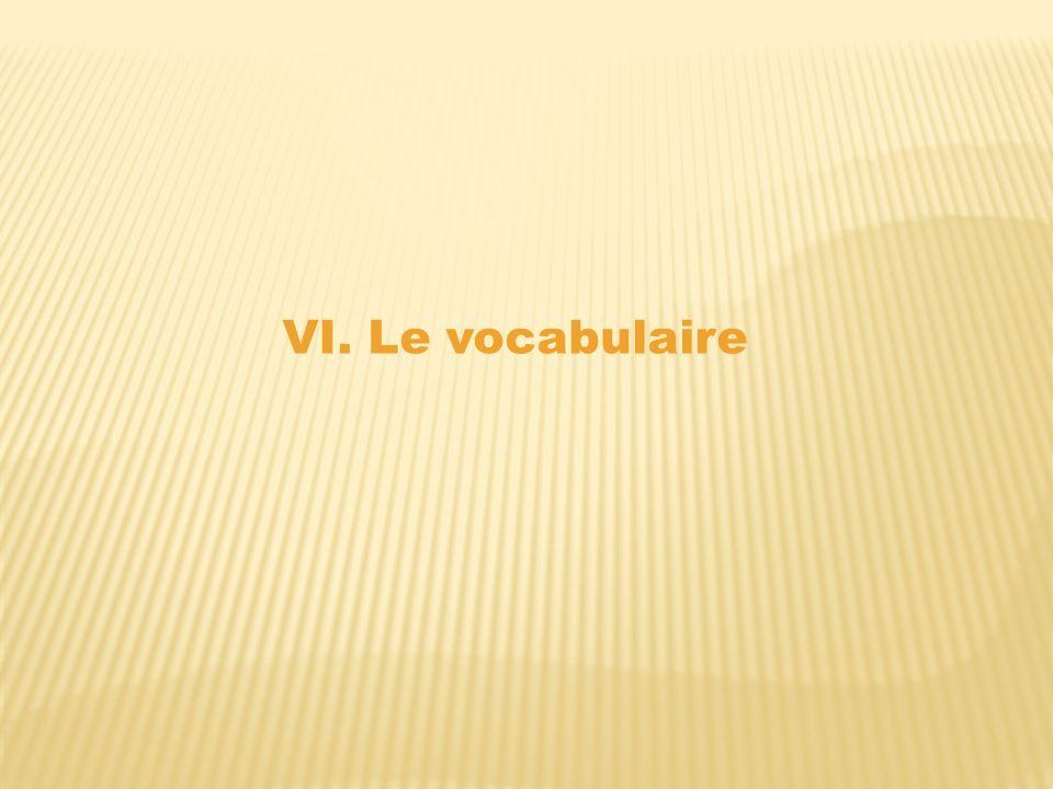 VI. Le vocabulaire