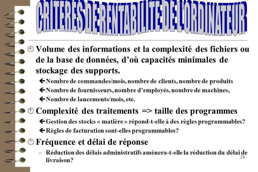 CRITERES DE RENTABILITE DE L'ORDINATEUR