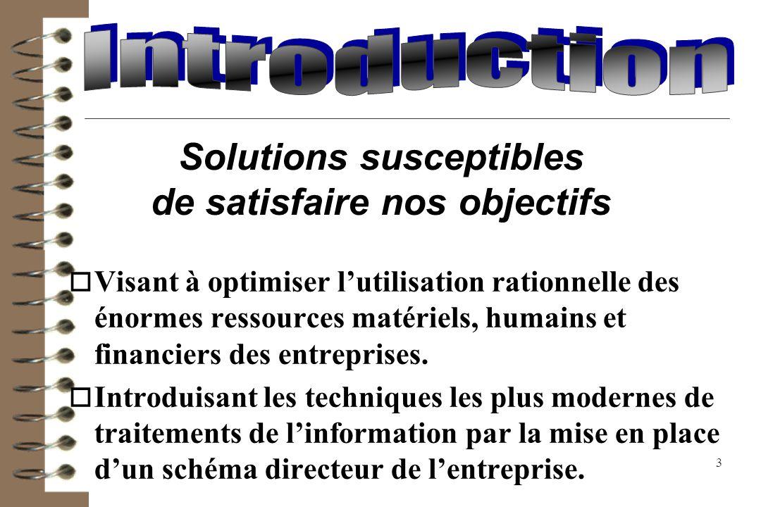 Solutions susceptibles de satisfaire nos objectifs