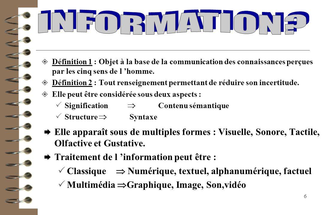 INFORMATION Définition 1 : Objet à la base de la communication des connaissances perçues par les cinq sens de l 'homme.