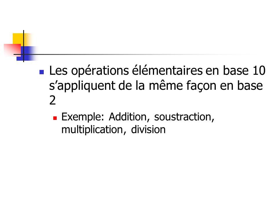 Les opérations élémentaires en base 10 s'appliquent de la même façon en base 2