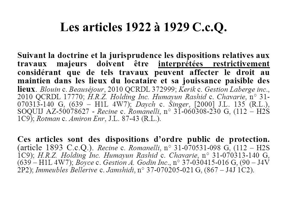 Les articles 1922 à 1929 C.c.Q.
