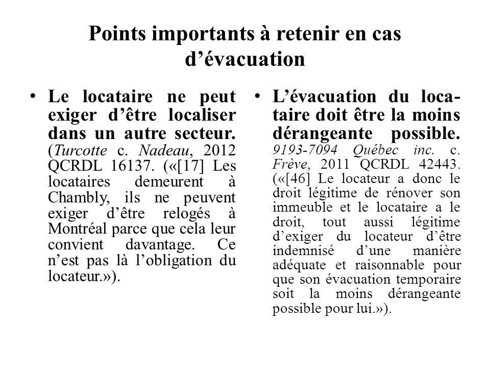 Points importants à retenir en cas d'évacuation