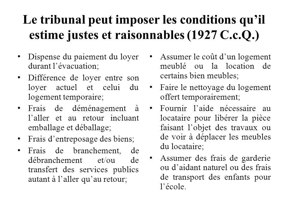 Le tribunal peut imposer les conditions qu'il estime justes et raisonnables (1927 C.c.Q.)