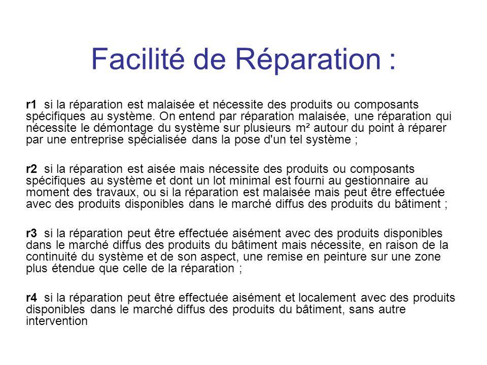 Facilité de Réparation :