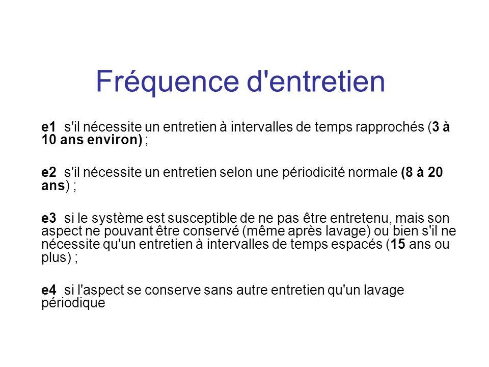 Fréquence d entretien e1 s il nécessite un entretien à intervalles de temps rapprochés (3 à 10 ans environ) ;