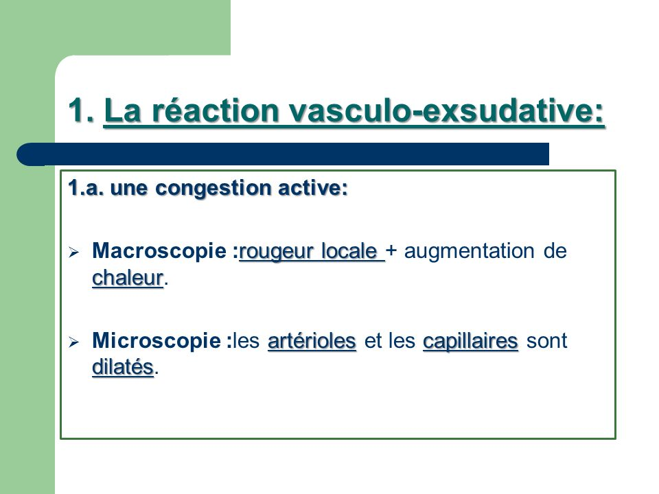 1. La réaction vasculo-exsudative: