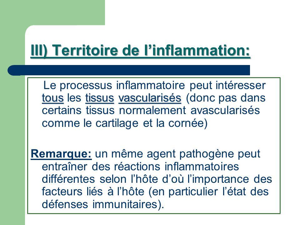 III) Territoire de l'inflammation: