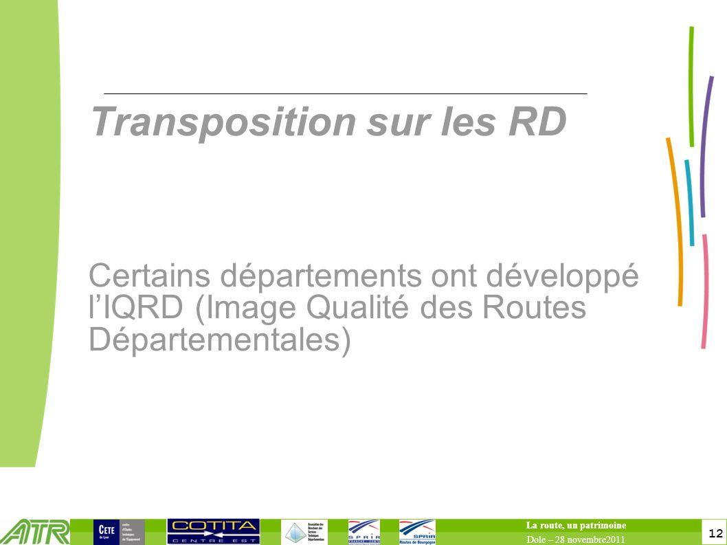 toitototototoot Transposition sur les RD Certains départements ont développé l'IQRD (Image Qualité des Routes Départementales)