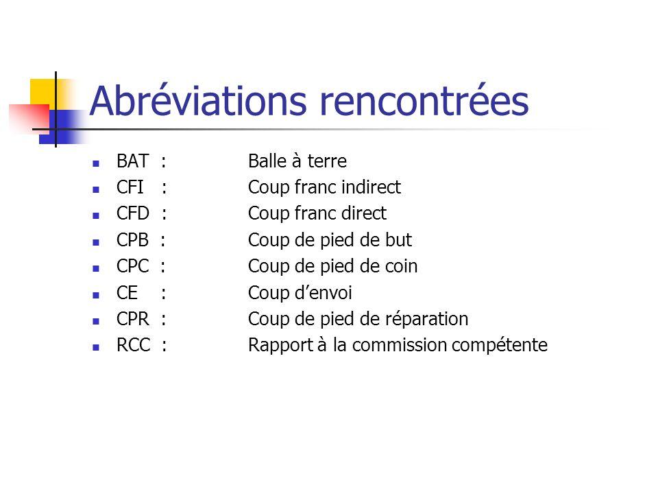 Abréviations rencontrées