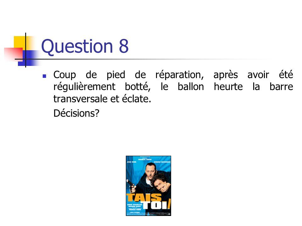 Question 8 Coup de pied de réparation, après avoir été régulièrement botté, le ballon heurte la barre transversale et éclate.
