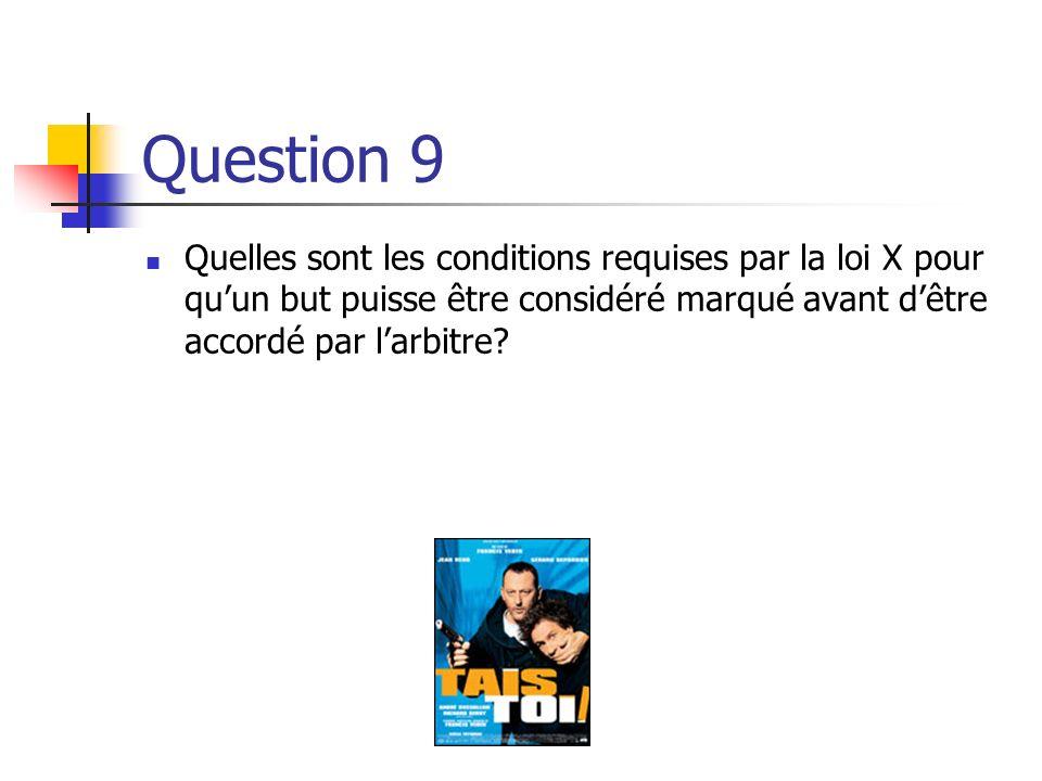 Question 9 Quelles sont les conditions requises par la loi X pour qu'un but puisse être considéré marqué avant d'être accordé par l'arbitre