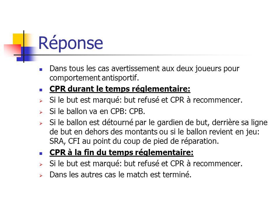 Réponse Dans tous les cas avertissement aux deux joueurs pour comportement antisportif. CPR durant le temps réglementaire: