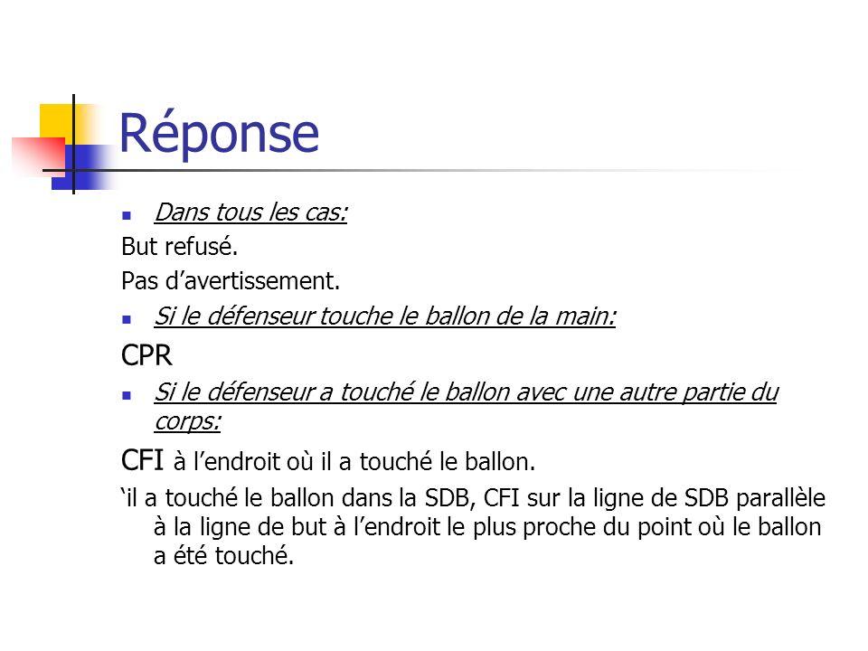 Réponse CPR CFI à l'endroit où il a touché le ballon.