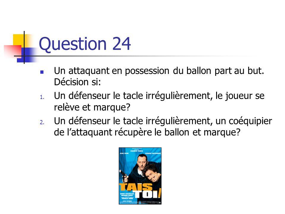 Question 24 Un attaquant en possession du ballon part au but. Décision si: Un défenseur le tacle irrégulièrement, le joueur se relève et marque