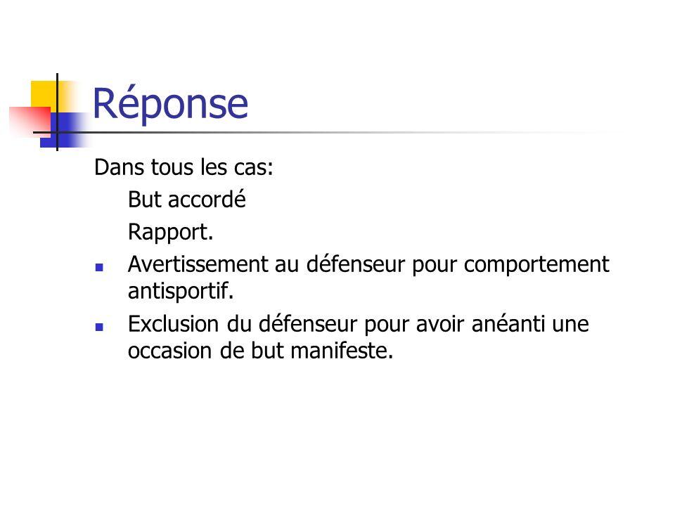 Réponse Dans tous les cas: But accordé Rapport.