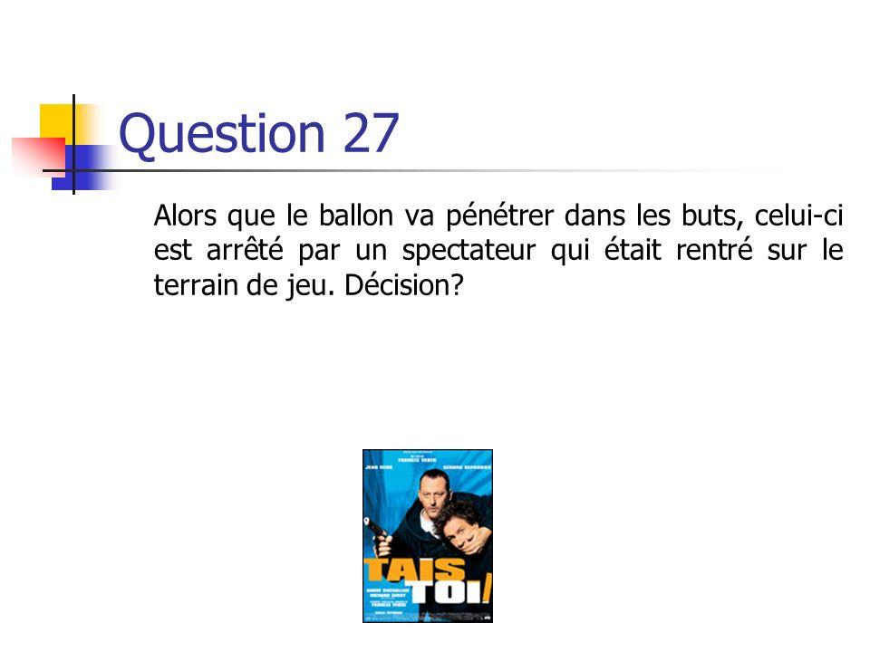 Question 27 Alors que le ballon va pénétrer dans les buts, celui-ci est arrêté par un spectateur qui était rentré sur le terrain de jeu.