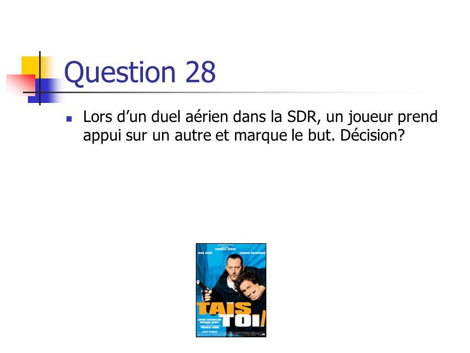 Question 28 Lors d'un duel aérien dans la SDR, un joueur prend appui sur un autre et marque le but.