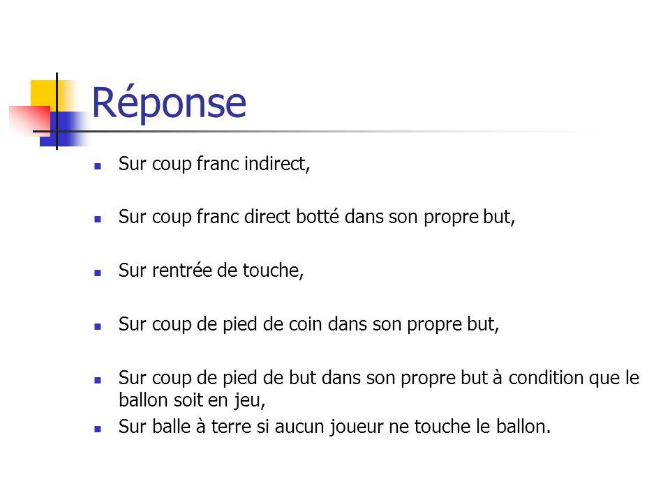 Réponse Sur coup franc indirect,