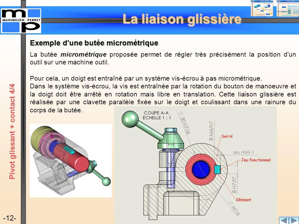 Exemple d une butée micrométrique