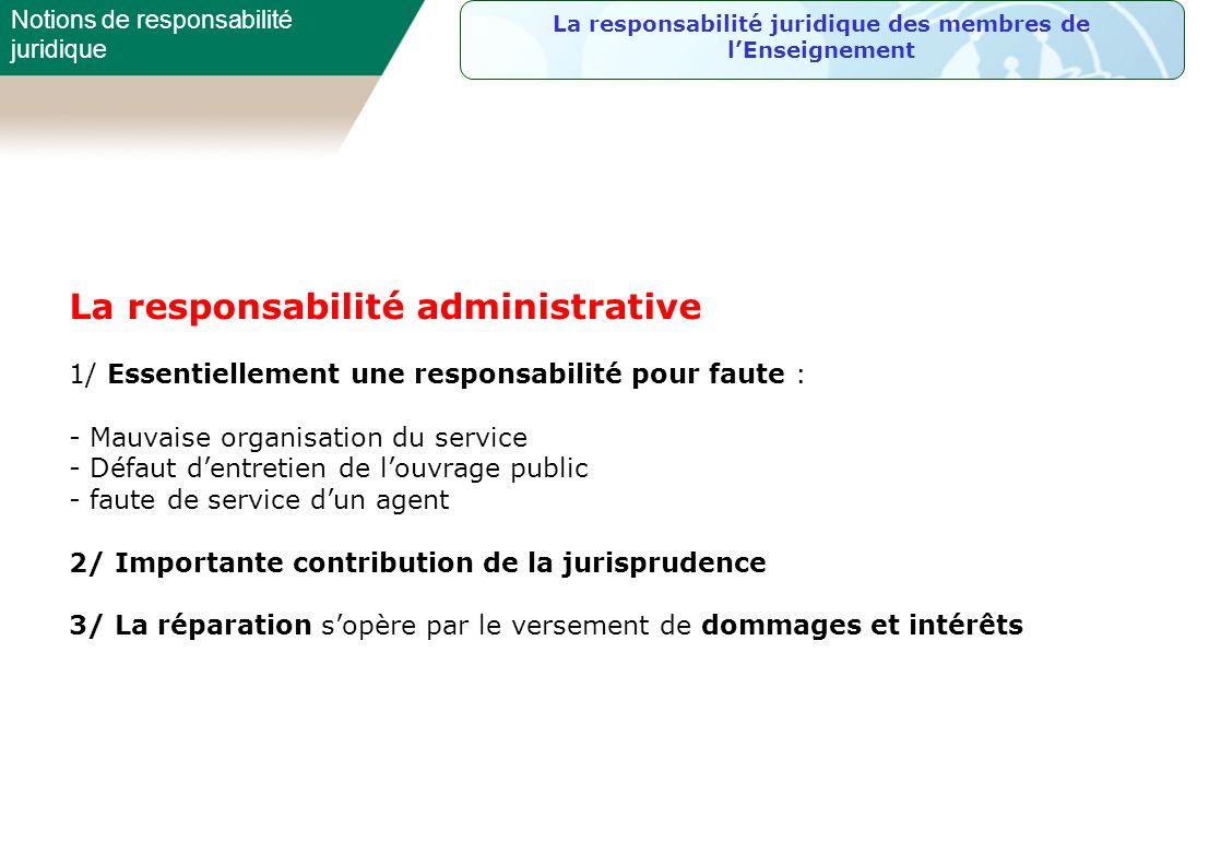 La responsabilité juridique des membres de l'Enseignement