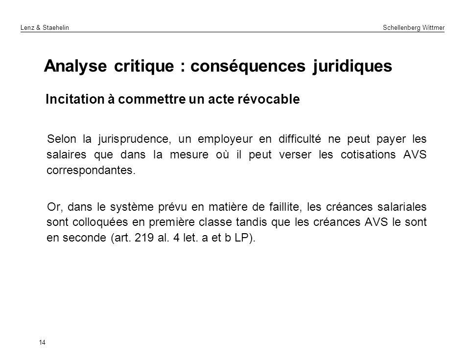 Analyse critique : conséquences juridiques