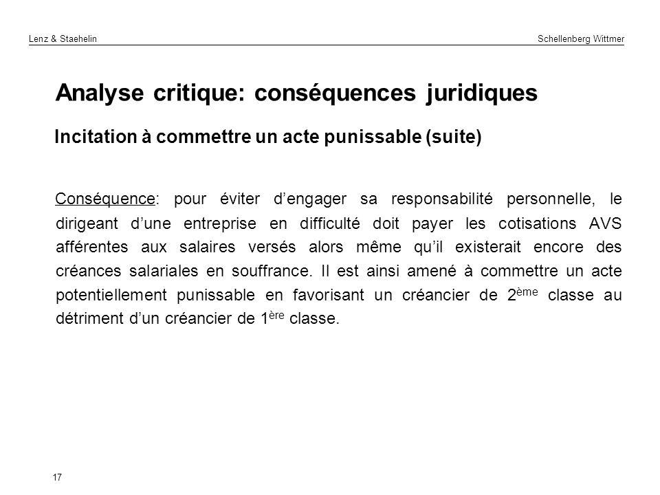 Analyse critique: conséquences juridiques