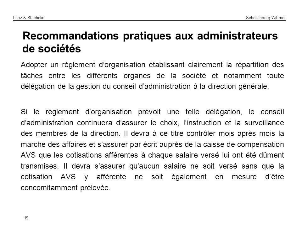 Recommandations pratiques aux administrateurs de sociétés